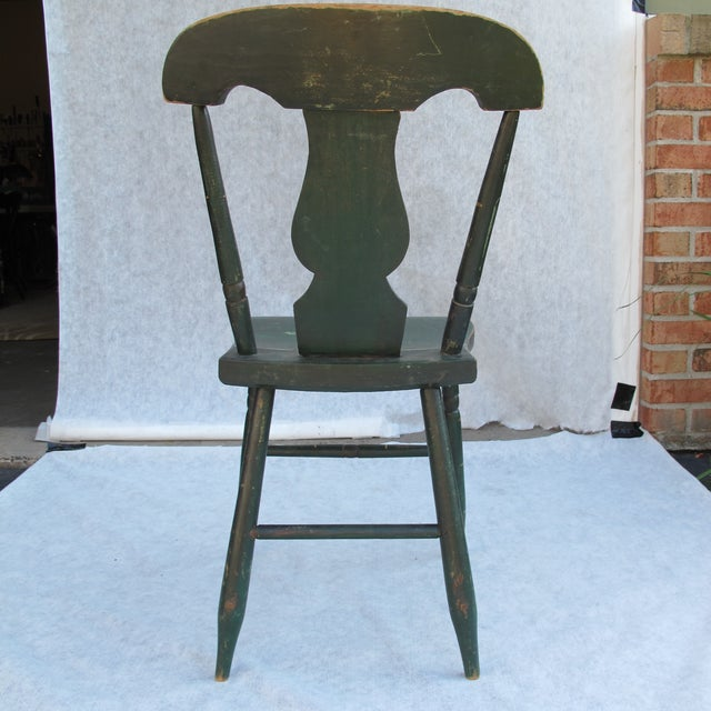 Antique Painted Pennsylvania Plank Chairs - S/6 - Image 4 of 11