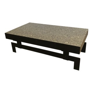 Modern Steel and Damascus Laminate Coffee Table For Sale