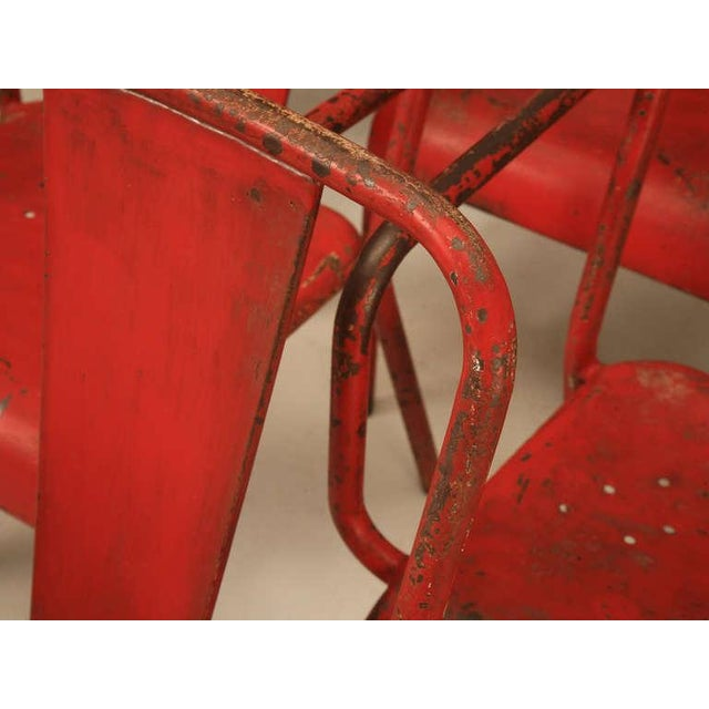 Red French Mid-Century Industrial Steel Table and Chairs - 7 pieces For Sale - Image 8 of 12