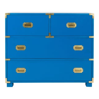 1970s Baker Furniture Newly Refinished Blue Campaign Dresser