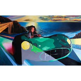 """Girl in Green Cobra"" Large Pop Art Painting by Geoff Greene For Sale"