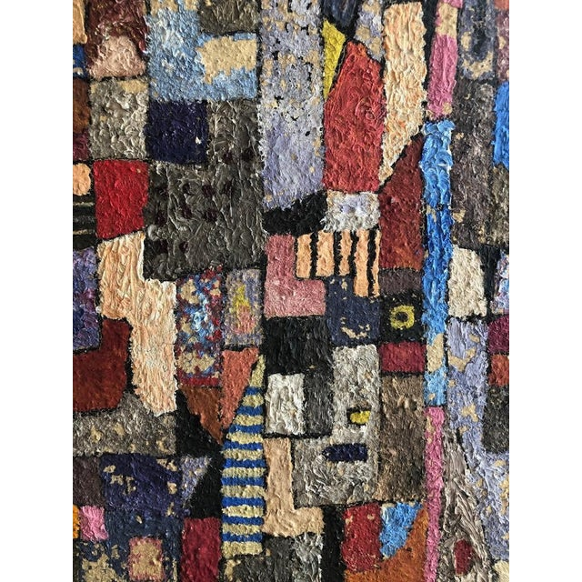1950s Vintage Modern Abstracted Cityscape Painting For Sale - Image 10 of 11