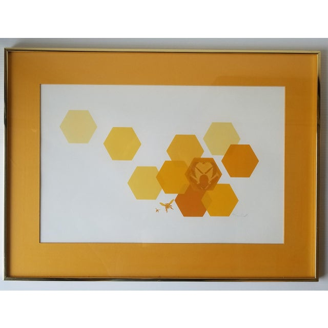 """1960s """"Bees and Hexagons"""" Minimalist Serigraph, Framed For Sale - Image 10 of 10"""