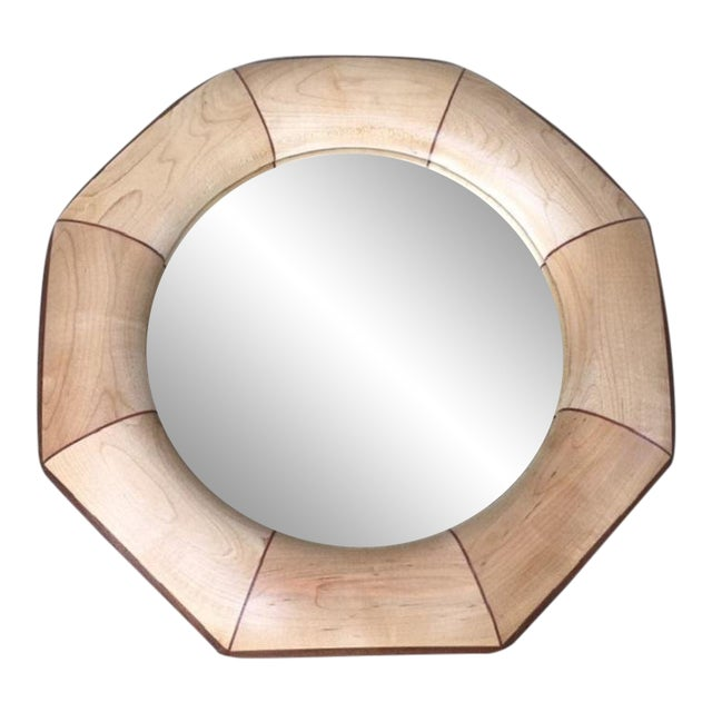 Custom Octagonal Mirror With Maple and Rosewood Inlay For Sale