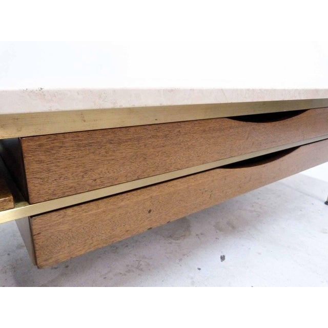Paul McCobb For Calvin Mahogany, Brass & Travertine Coffee Table - Image 7 of 11