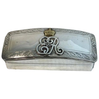 English Sterling and Gold Smoking Box With Cypher of King Edward VII For Sale