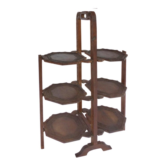 1900s Country Carved Wood Folding Serving Stand For Sale