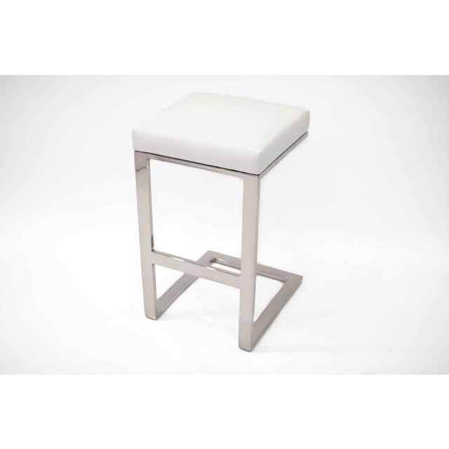 Modern Hot Toddy White Leather Counter Stool For Sale - Image 3 of 3