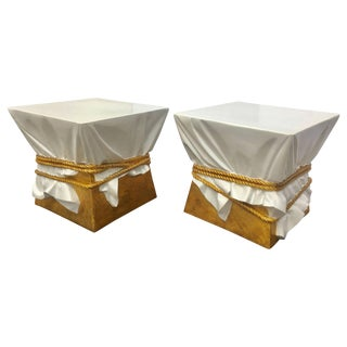 Sculptural Hollywood Regency Style Draped Rope Occasional Tables or Stools For Sale