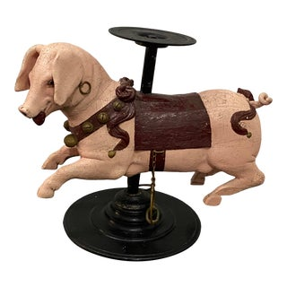 19th Century French Carved & Painted Carousel Pig on Stand Attributed to Bayol For Sale