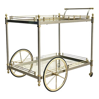 Vintage Italian Brass Metal Serving Cart For Sale