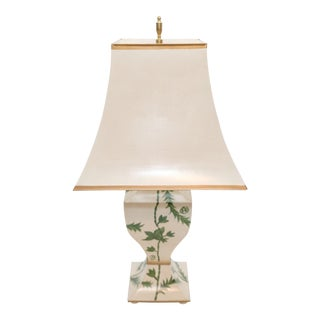 Cottage Hand Painted Tole Lamp For Sale