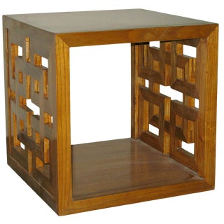 Asian Modern Elm Lacquered Lattice Panel Cube Table For Sale