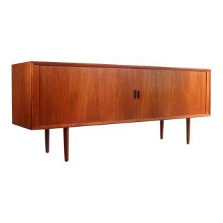 1960s Danish Modern Svend Aage Larsen Long Tambour Door Credenza For Sale