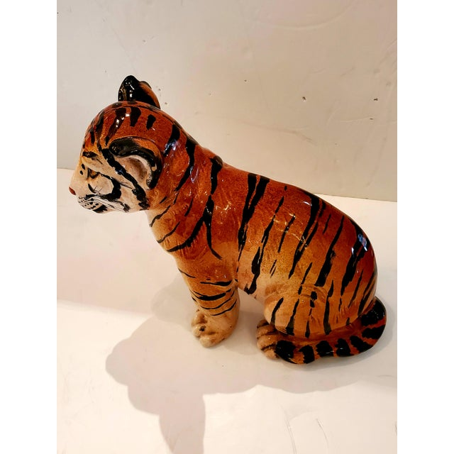 Italian Ceramic Tiger Cub Sculpture For Sale In Philadelphia - Image 6 of 10