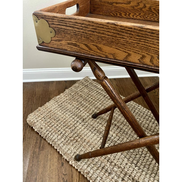 Early 20th Century Antique English Oak Folding Butlers Tray Bar For Sale - Image 5 of 11