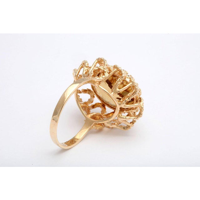 Mid 20th Century 60's Brutalist Citrine Melted Gold Swirls Cocktail Ring For Sale - Image 5 of 7