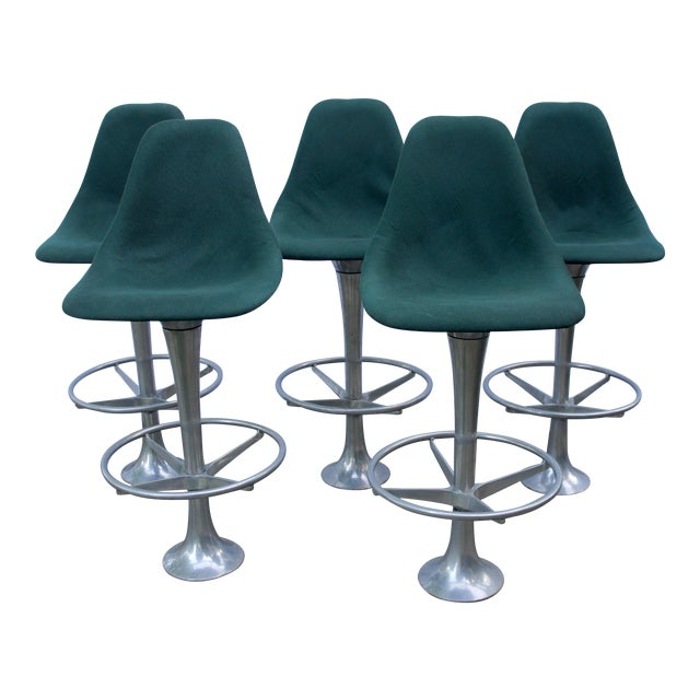 Mid-Century Modern Green Floor Anchored Bar Stools - Set of 5 For Sale