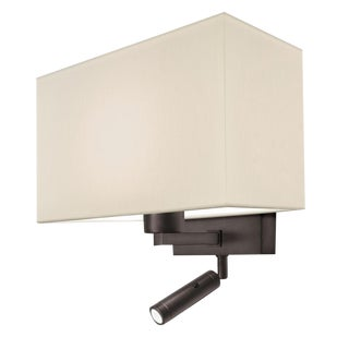 Combination Wall Light With Led Reading Light in Black Bronze For Sale