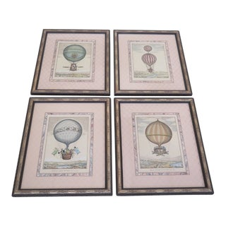 Vintage Balloon Decorative Framed Prints Etchings - Set of 4