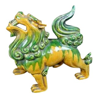 Japanese Chinese Asian Ceramic Roaring Lion Shishi Foo Dog Foodog Yellow Green Antique Vintage For Sale