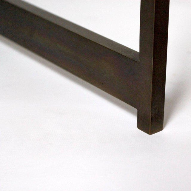 Mid-Century Bronze & Glass X-Base Coffee Table For Sale - Image 9 of 10