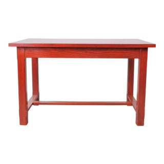 Vintage French Farmhouse Style Pine Trestle Dining Table W/ Two Drawers For Sale