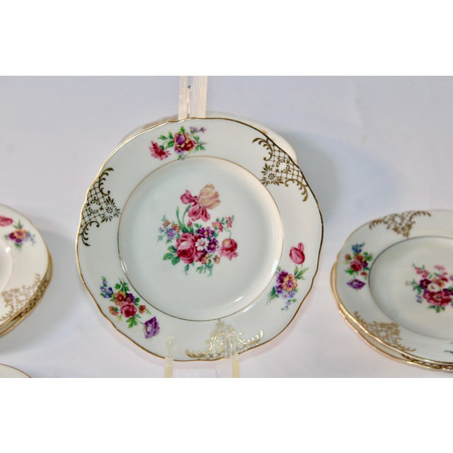 Set of 13 Floral Porcelain Czechoslovakian Epiag Dessert/Bread Plates - Image 6 of 11