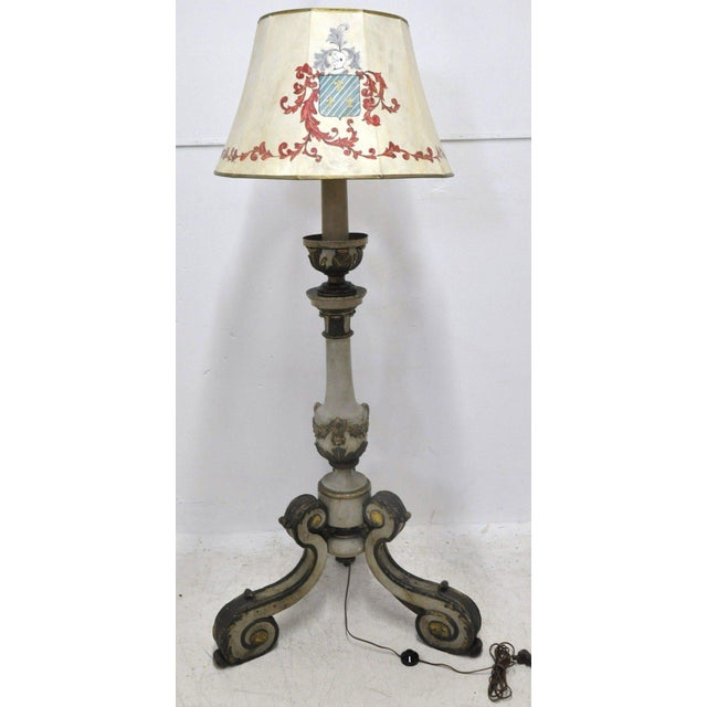 This beautiful, antique wood floor lamp was carved in Italy, circa 1850. The tall lamp has its original painted finish and...