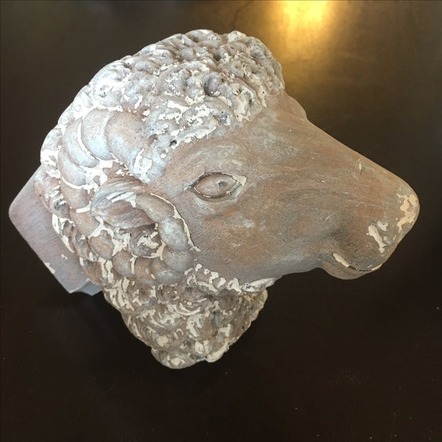 Carved Wooden Ram's Heads Bookends - Pair - Image 7 of 8
