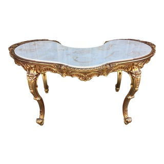 Vintage Victorian Style Gold Toned Console Table For Sale