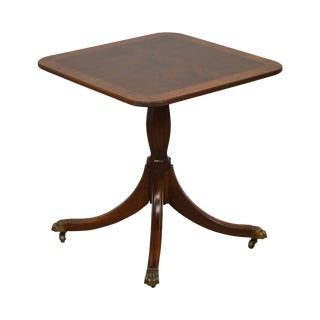 Duncan Phyfe Style Custom Quality Banded Mahogany Pedestal Side Table For Sale