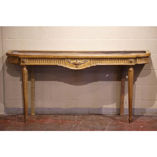 Midcentury French Louis XVI Carved and Painted Console Table With Marble Top For Sale - Image 9 of 12
