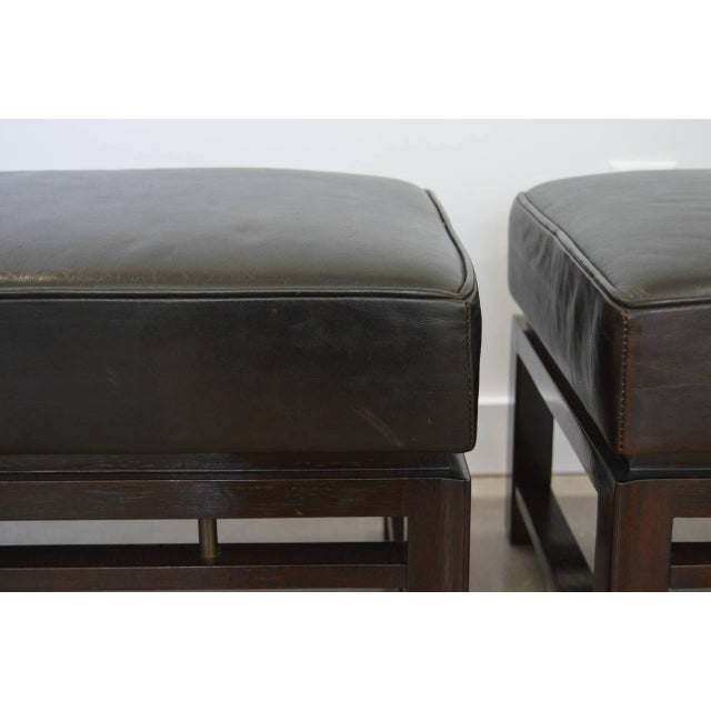 Black Leather Benches: Edward Wormley for Dunbar 1940s - a Pair For Sale - Image 8 of 10
