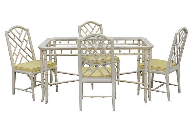1970u0027s Faux Bamboo Dining Set   5 Pieces For Sale