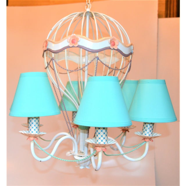 1960s Vintage Italian Tole Hot Air Balloon Chandelier For Sale In Houston - Image 6 of 12