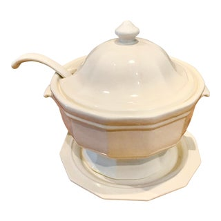 California Pottery Ironstone Tureen and Ladle Set - 3 Pieces For Sale