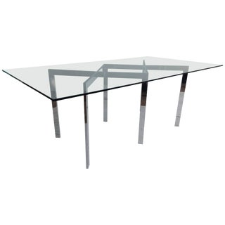 Milo Baughman & Thayer Coggin Chrome X Base and Glass Dining Table For Sale
