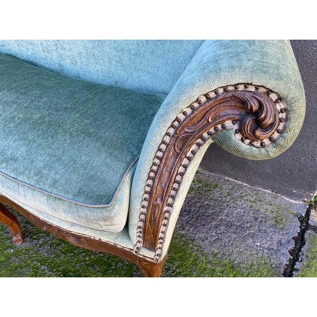 Late 18th C. To Early 19th C. French Walnut Settee With Green Chenile For Sale - Image 9 of 12