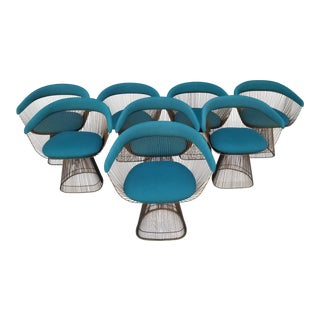 Vintage Mid Century Warren Platner Teal Dining Chairs- Set of 8 For Sale