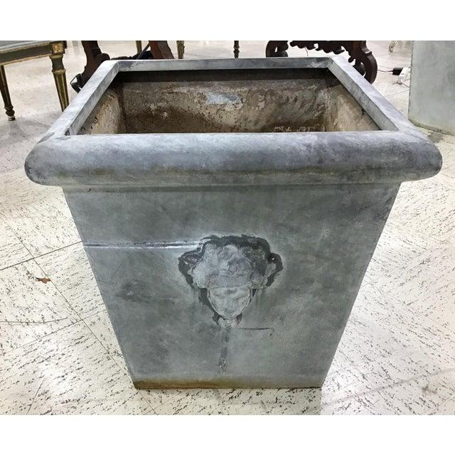 Neoclassical Large Vintage Neoclassic Style Metal Planter For Sale - Image 3 of 8