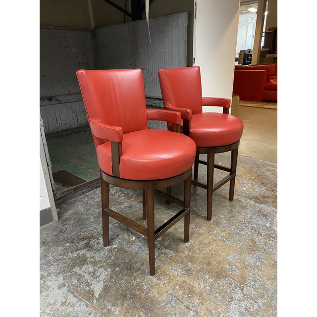 Contemporary Wheeler Design Group Custom Leather Swivel Bar Stools - a Pair For Sale - Image 3 of 11