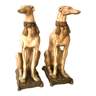 Greyhound Dog Statues Opposing Designs - A Pair For Sale