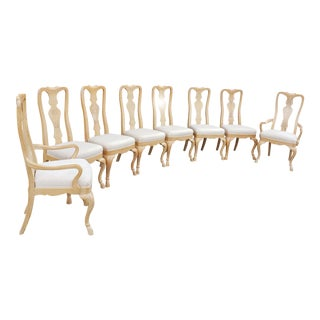 Vintage Drexel Burled Olive & Ash High Back Dining Chairs-Set of 8 For Sale