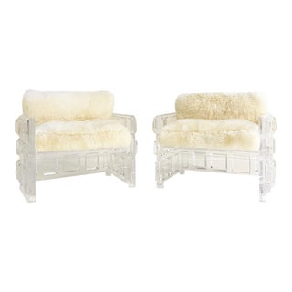 Vintage Lucite Lounge Chairs With New Brazilian Sheepskin Cushions - a Pair For Sale