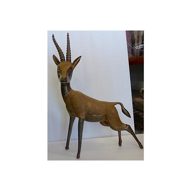 Solid Brass Antelope with Patina - Image 2 of 6