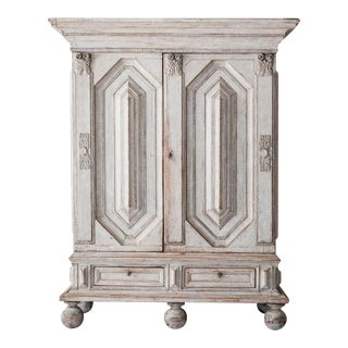 18th Century Swedish Baroque Period Armoire Cabinet