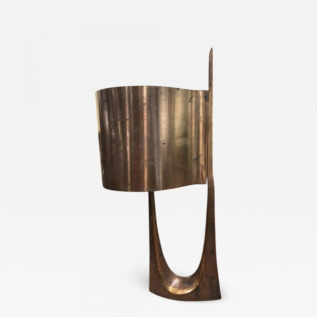 1960s Maison Charles Stamped Vintage Gold Bronze Lamp For Sale - Image 5 of 5