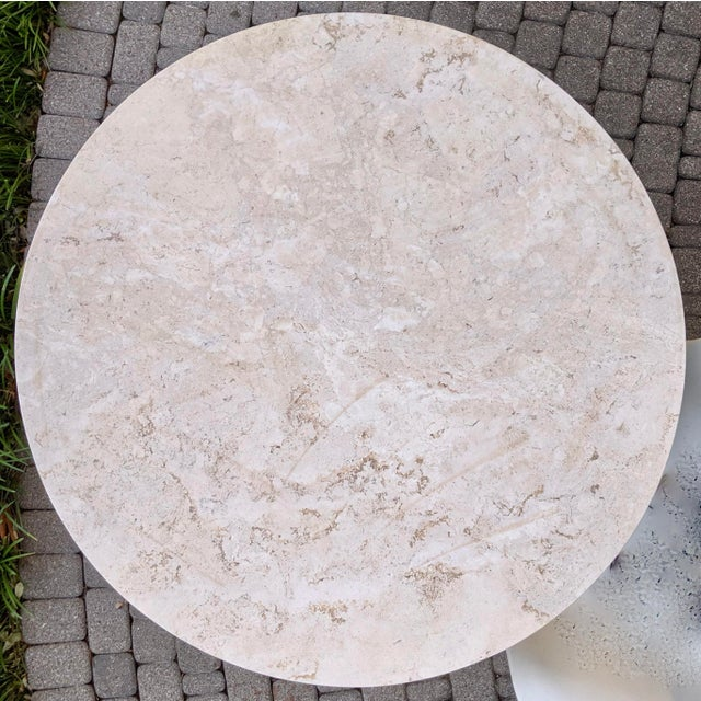 1980s Contemporary Round Travertine Dining Table For Sale In Dallas - Image 6 of 11