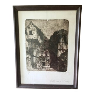 Vintage Etching by Emile Leroy - French For Sale